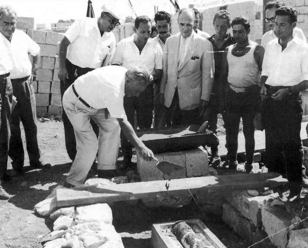 Dan Carmel hotel cornerstone laying in 1961