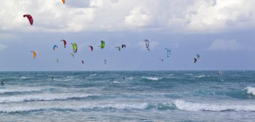 Kite surfing in Haifa beach picture